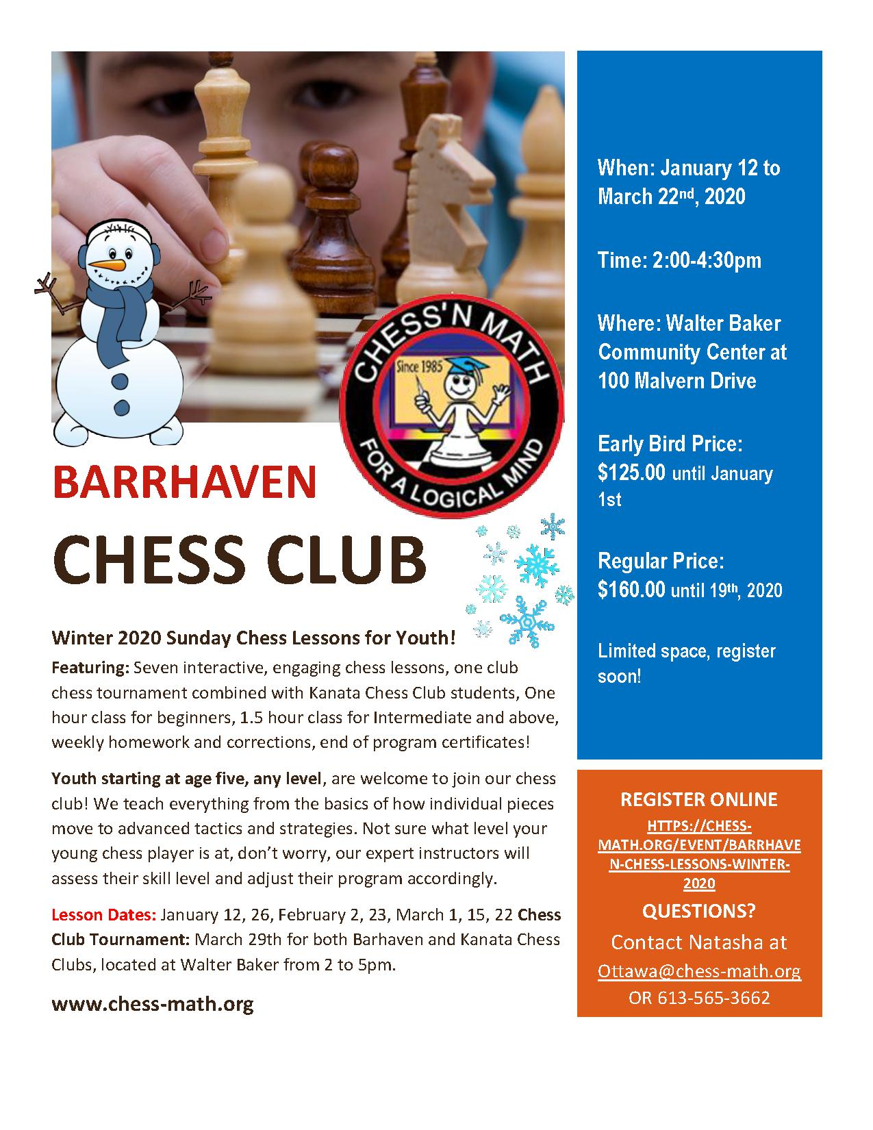 Barrhaven Sunday Chess Club Winter 2020