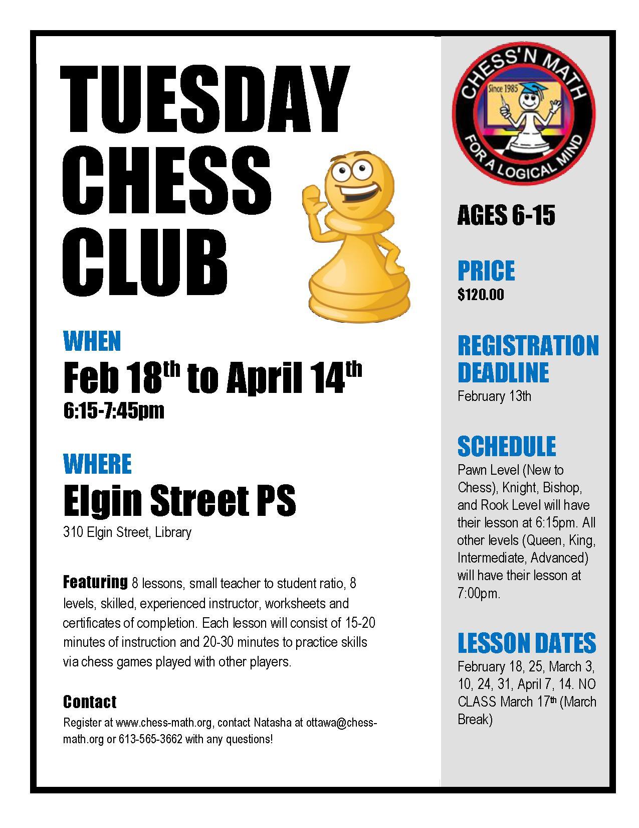 Centretown Chess Club Winter 2020 Elgin Street