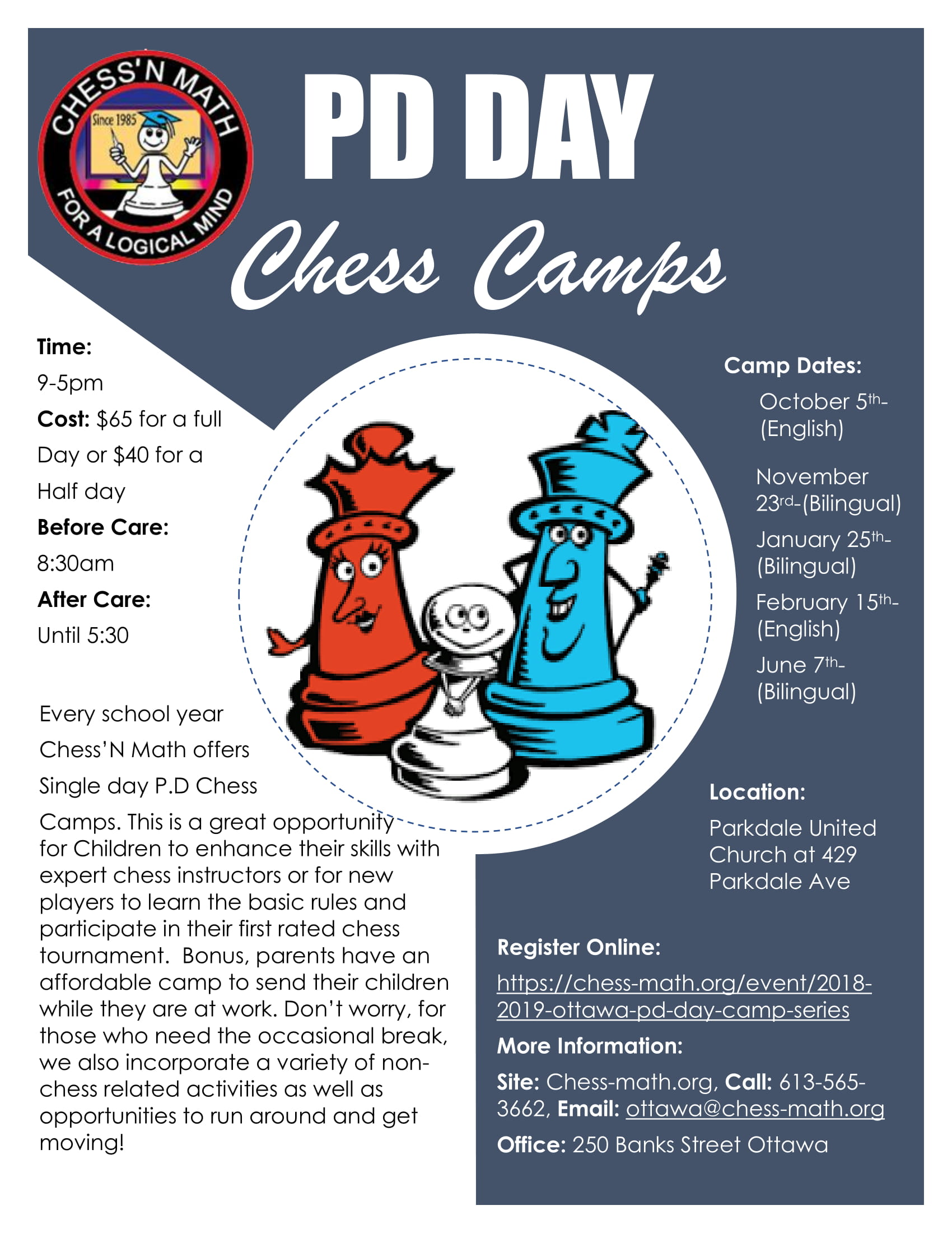 PD Day Camp Schedule 2018-2019 Ottawa