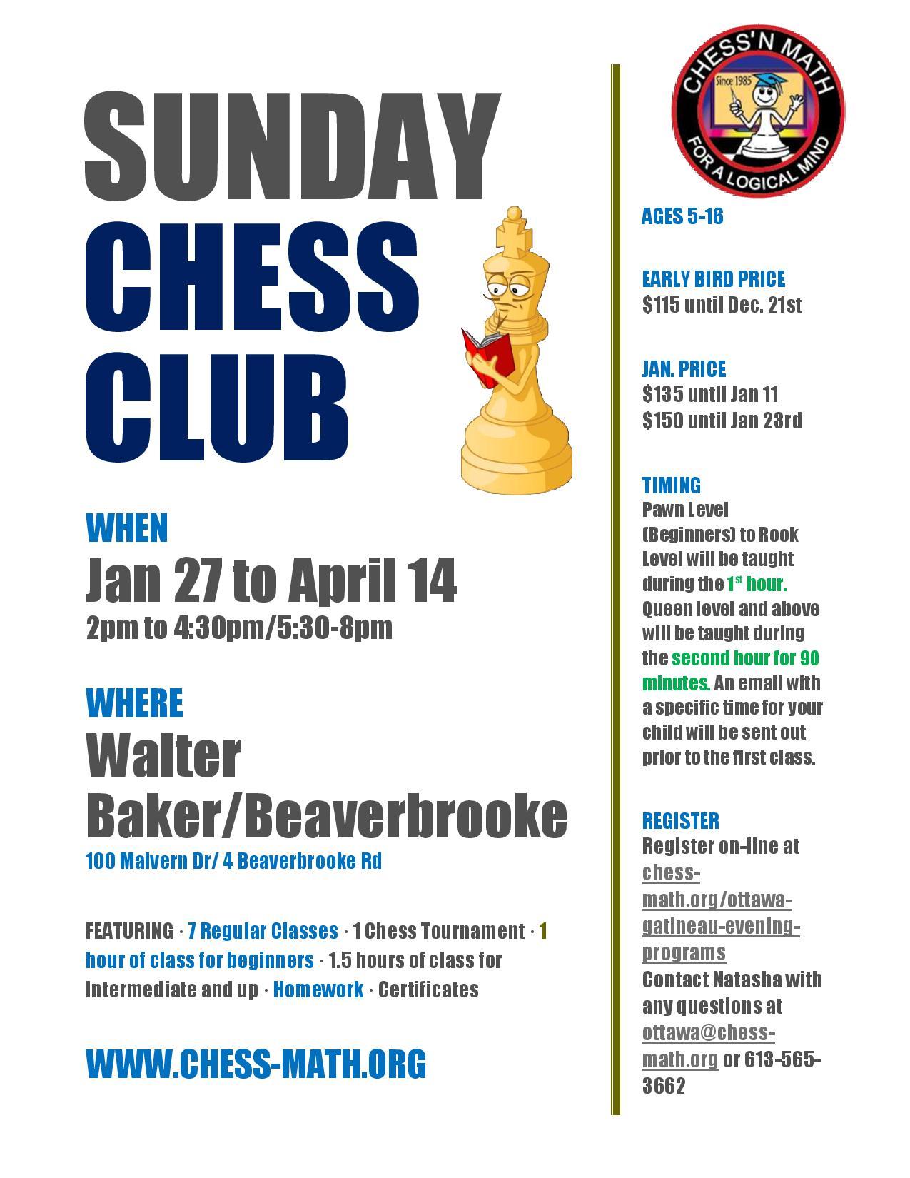 Sunday Chess Clubs Winter 2019